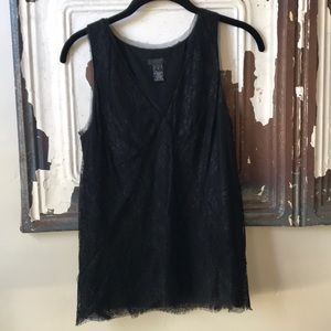 J Crew Collection Black Lace Shell